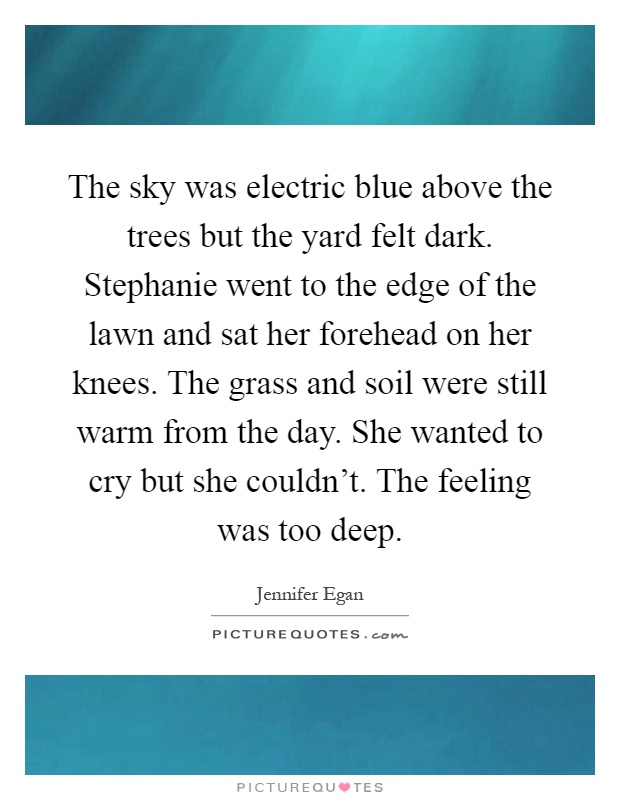 The sky was electric blue above the trees but the yard felt dark. Stephanie went to the edge of the lawn and sat her forehead on her knees. The grass and soil were still warm from the day. She wanted to cry but she couldn't. The feeling was too deep Picture Quote #1