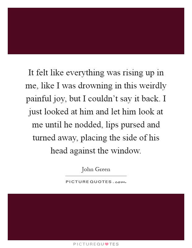 It felt like everything was rising up in me, like I was drowning in this weirdly painful joy, but I couldn't say it back. I just looked at him and let him look at me until he nodded, lips pursed and turned away, placing the side of his head against the window Picture Quote #1