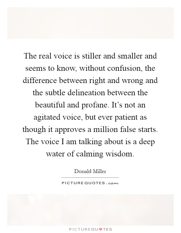 The real voice is stiller and smaller and seems to know, without confusion, the difference between right and wrong and the subtle delineation between the beautiful and profane. It's not an agitated voice, but ever patient as though it approves a million false starts. The voice I am talking about is a deep water of calming wisdom Picture Quote #1