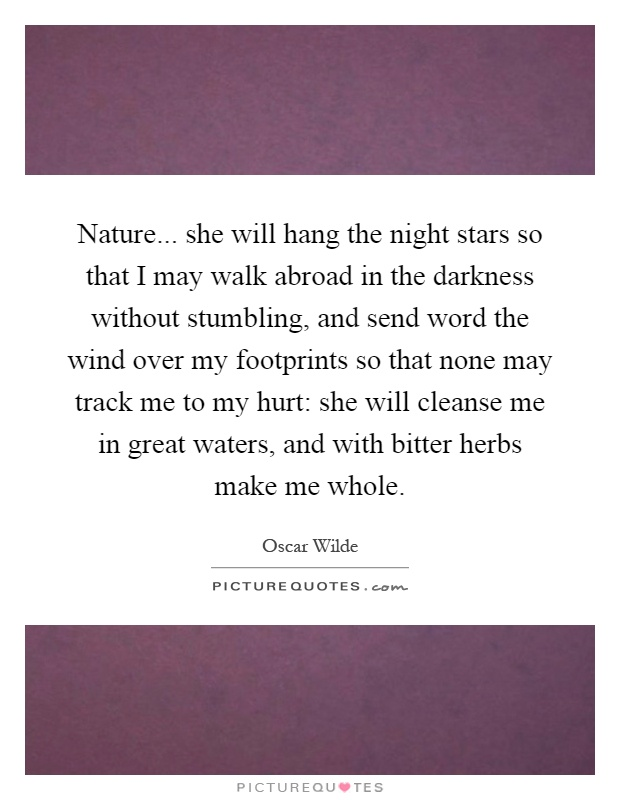 Nature... she will hang the night stars so that I may walk abroad in the darkness without stumbling, and send word the wind over my footprints so that none may track me to my hurt: she will cleanse me in great waters, and with bitter herbs make me whole Picture Quote #1