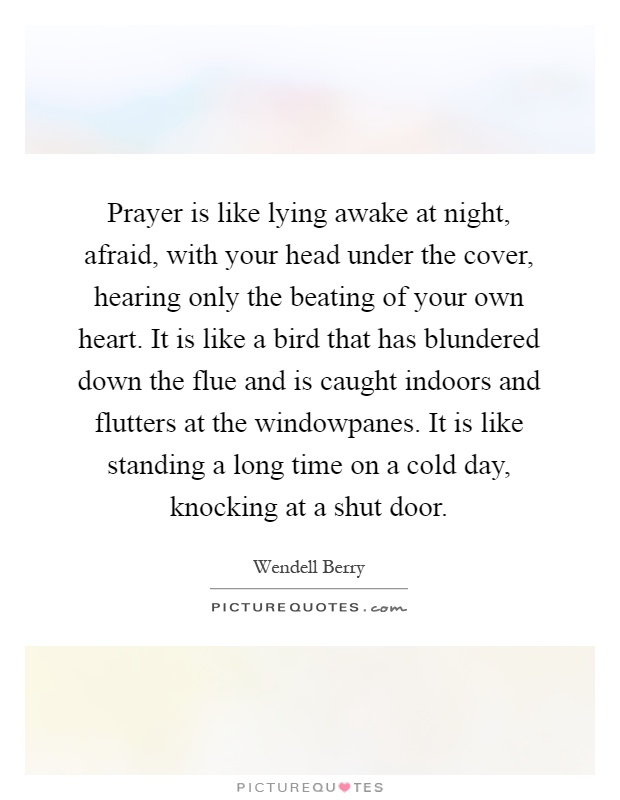 Prayer is like lying awake at night, afraid, with your head under the cover, hearing only the beating of your own heart. It is like a bird that has blundered down the flue and is caught indoors and flutters at the windowpanes. It is like standing a long time on a cold day, knocking at a shut door Picture Quote #1