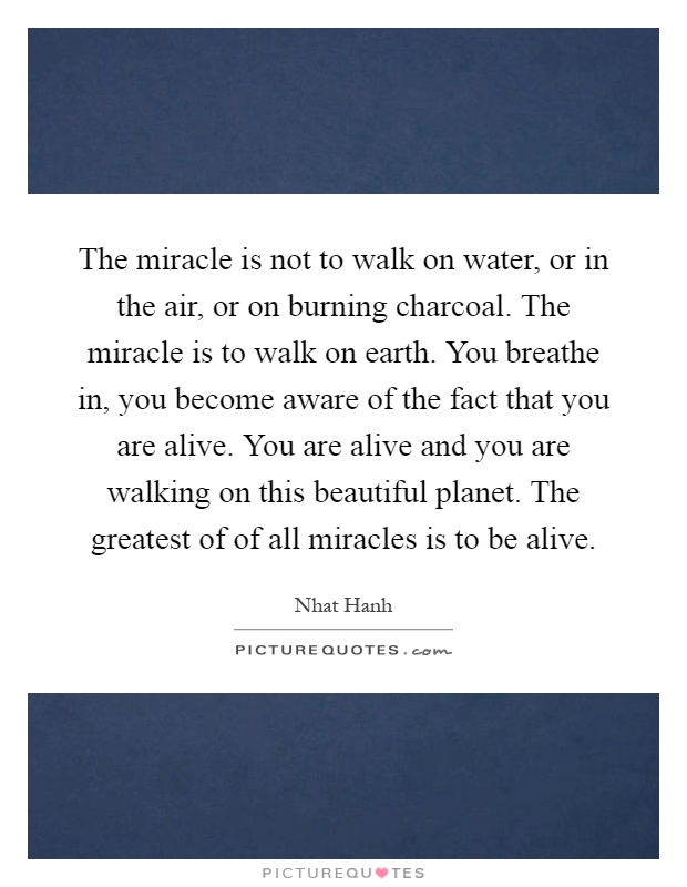 The miracle is not to walk on water, or in the air, or on burning charcoal. The miracle is to walk on earth. You breathe in, you become aware of the fact that you are alive. You are alive and you are walking on this beautiful planet. The greatest of of all miracles is to be alive Picture Quote #1