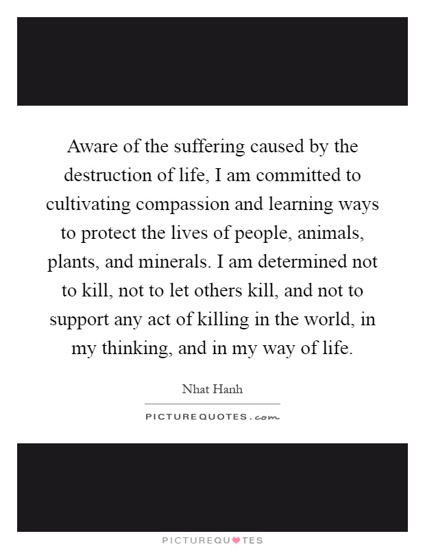 Aware of the suffering caused by the destruction of life, I am committed to cultivating compassion and learning ways to protect the lives of people, animals, plants, and minerals. I am determined not to kill, not to let others kill, and not to support any act of killing in the world, in my thinking, and in my way of life Picture Quote #1
