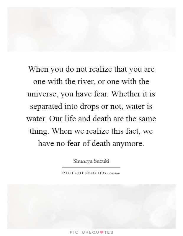 When you do not realize that you are one with the river, or one with the universe, you have fear. Whether it is separated into drops or not, water is water. Our life and death are the same thing. When we realize this fact, we have no fear of death anymore Picture Quote #1
