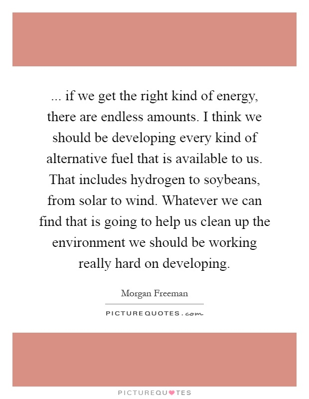 ... if we get the right kind of energy, there are endless amounts. I think we should be developing every kind of alternative fuel that is available to us. That includes hydrogen to soybeans, from solar to wind. Whatever we can find that is going to help us clean up the environment we should be working really hard on developing Picture Quote #1