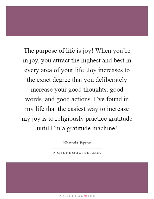 The purpose of life is joy! When you're in joy, you attract the highest and best in every area of your life. Joy increases to the exact degree that you deliberately increase your good thoughts, good words, and good actions. I've found in my life that the easiest way to increase my joy is to religiously practice gratitude until I'm a gratitude machine! Picture Quote #1