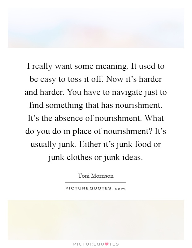 I really want some meaning. It used to be easy to toss it off. Now it's harder and harder. You have to navigate just to find something that has nourishment. It's the absence of nourishment. What do you do in place of nourishment? It's usually junk. Either it's junk food or junk clothes or junk ideas Picture Quote #1