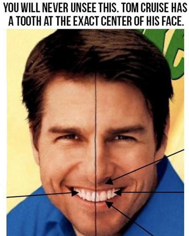 You will never unsee this. Tom Cruise has a tooth at the exact center of his face Picture Quote #1