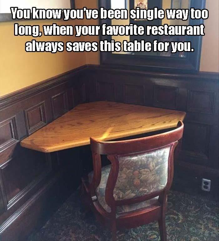 You know you've been single way too long, when your favorite restaurant always saves this table for you Picture Quote #1