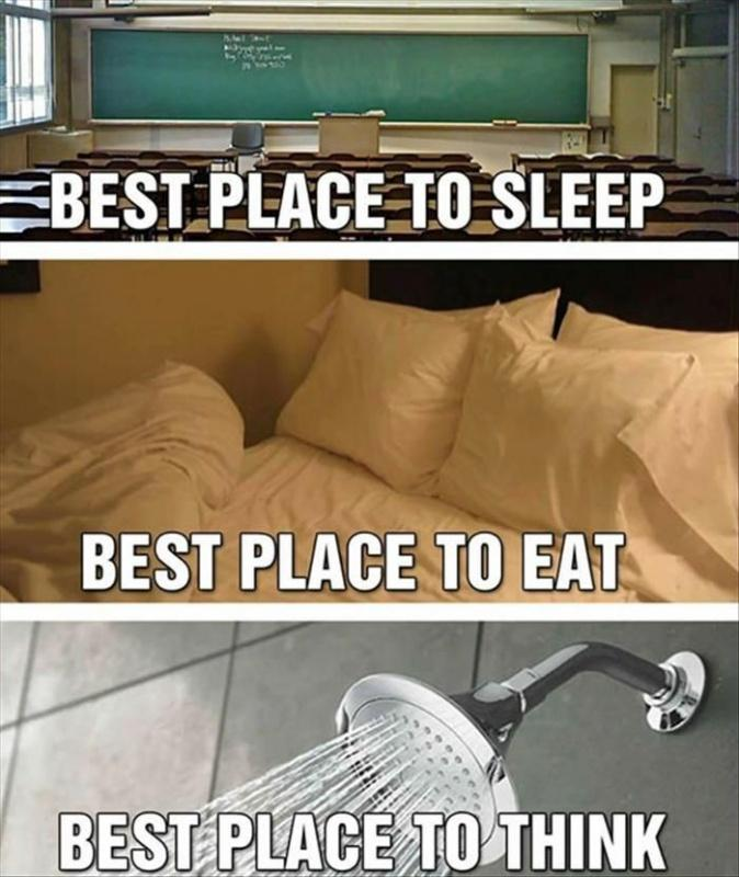 Best place to sleep. Best place to eat. Best place to think Picture Quote #1