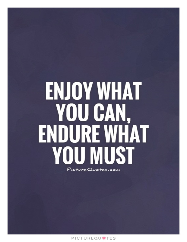 Enjoy what you can, endure what you must Picture Quote #1