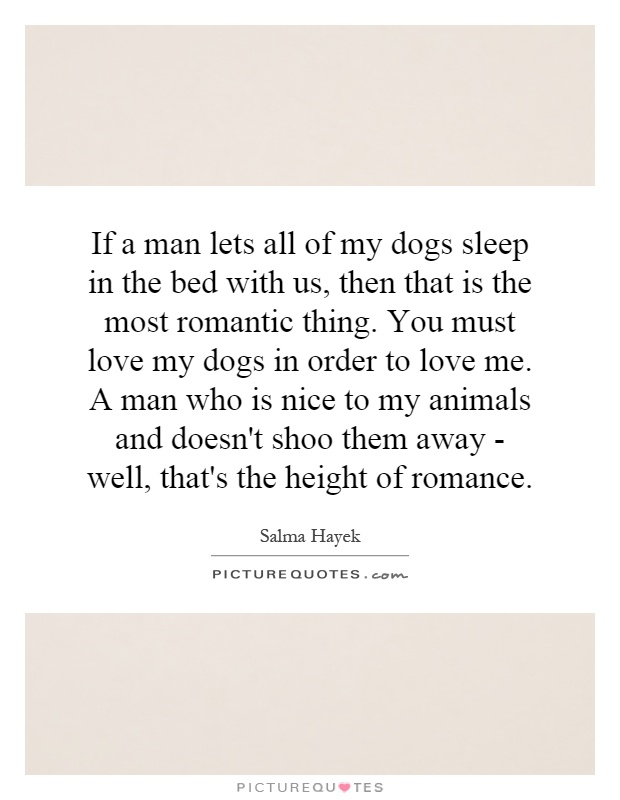 If a man lets all of my dogs sleep in the bed with us, then that is the most romantic thing. You must love my dogs in order to love me. A man who is nice to my animals and doesn't shoo them away - well, that's the height of romance Picture Quote #1