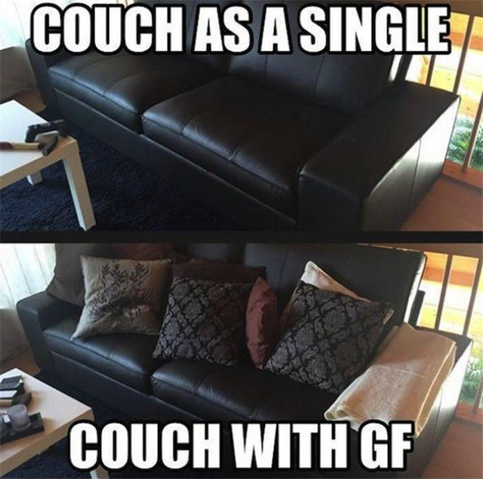 Couch as a single. Couch with a Girlfriend Picture Quote #1