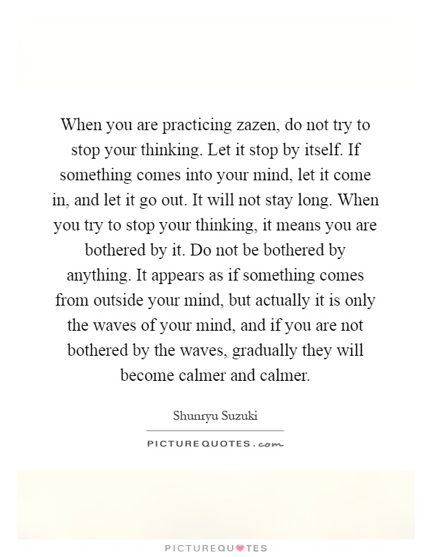 When you are practicing zazen, do not try to stop your thinking. Let it stop by itself. If something comes into your mind, let it come in, and let it go out. It will not stay long. When you try to stop your thinking, it means you are bothered by it. Do not be bothered by anything. It appears as if something comes from outside your mind, but actually it is only the waves of your mind, and if you are not bothered by the waves, gradually they will become calmer and calmer Picture Quote #1