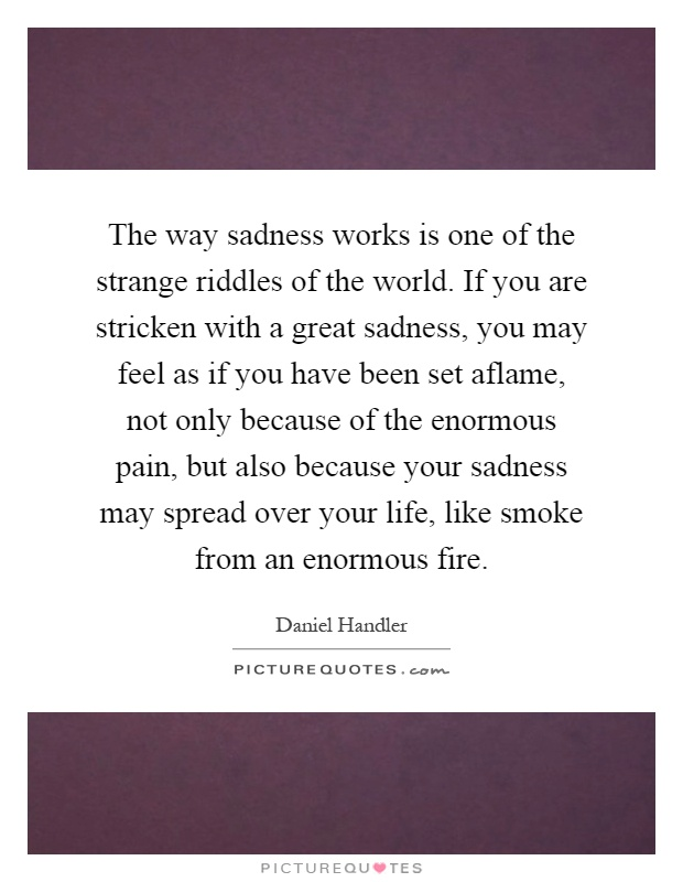 The way sadness works is one of the strange riddles of the world. If you are stricken with a great sadness, you may feel as if you have been set aflame, not only because of the enormous pain, but also because your sadness may spread over your life, like smoke from an enormous fire Picture Quote #1