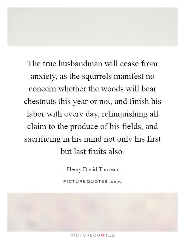 The true husbandman will cease from anxiety, as the squirrels manifest no concern whether the woods will bear chestnuts this year or not, and finish his labor with every day, relinquishing all claim to the produce of his fields, and sacrificing in his mind not only his first but last fruits also Picture Quote #1