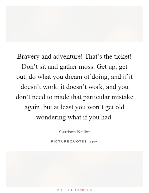 Bravery and adventure! That's the ticket! Don't sit and gather moss. Get up, get out, do what you dream of doing, and if it doesn't work, it doesn't work, and you don't need to made that particular mistake again, but at least you won't get old wondering what if you had Picture Quote #1