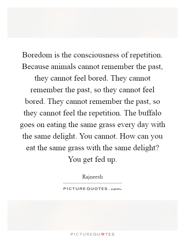 Because Animals Cannot Remember The Past, They Cannot Feel Bored. They  Cannot Remember The Past, So They Cannot Feel Bored. They Cannot Remember  The Past, ...