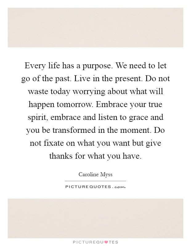 Every life has a purpose. We need to let go of the past. Live in the present. Do not waste today worrying about what will happen tomorrow. Embrace your true spirit, embrace and listen to grace and you be transformed in the moment. Do not fixate on what you want but give thanks for what you have Picture Quote #1