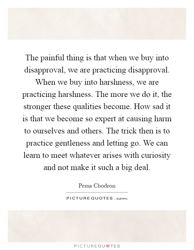 The painful thing is that when we buy into disapproval, we are practicing disapproval. When we buy into harshness, we are practicing harshness. The more we do it, the stronger these qualities become. How sad it is that we become so expert at causing harm to ourselves and others. The trick then is to practice gentleness and letting go. We can learn to meet whatever arises with curiosity and not make it such a big deal Picture Quote #1