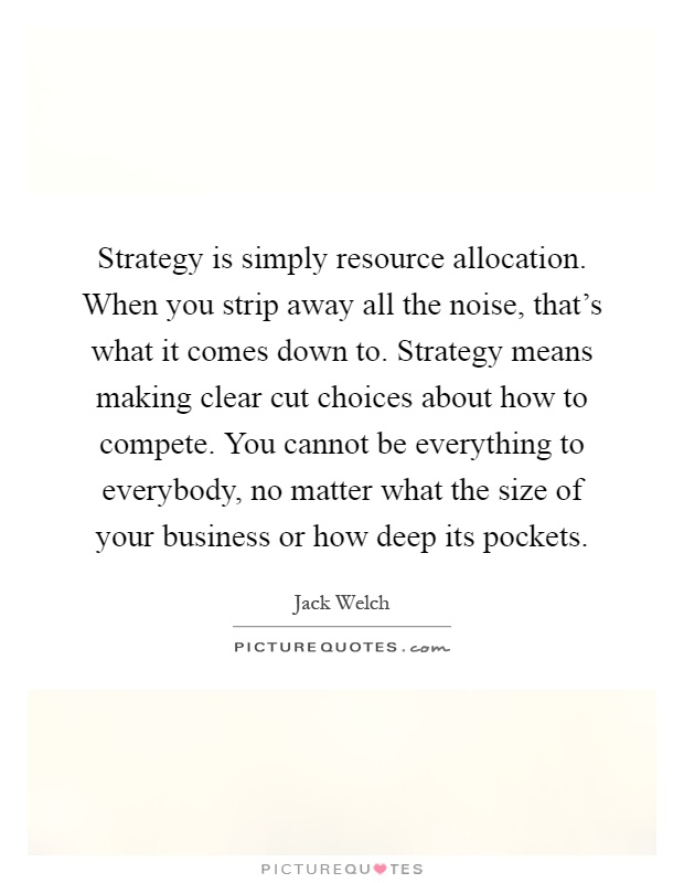 Strategy is simply resource allocation. When you strip away all the noise, that's what it comes down to. Strategy means making clear cut choices about how to compete. You cannot be everything to everybody, no matter what the size of your business or how deep its pockets Picture Quote #1