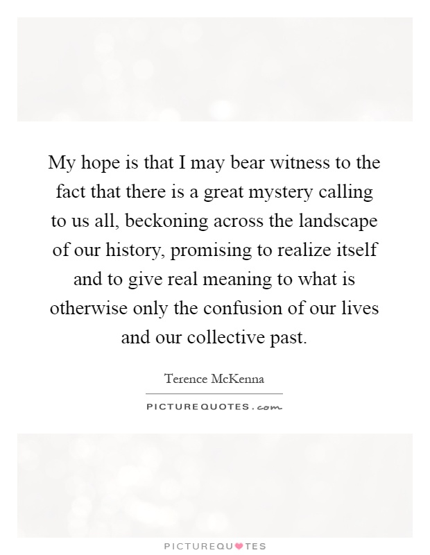My hope is that I may bear witness to the fact that there is a great mystery calling to us all, beckoning across the landscape of our history, promising to realize itself and to give real meaning to what is otherwise only the confusion of our lives and our collective past Picture Quote #1