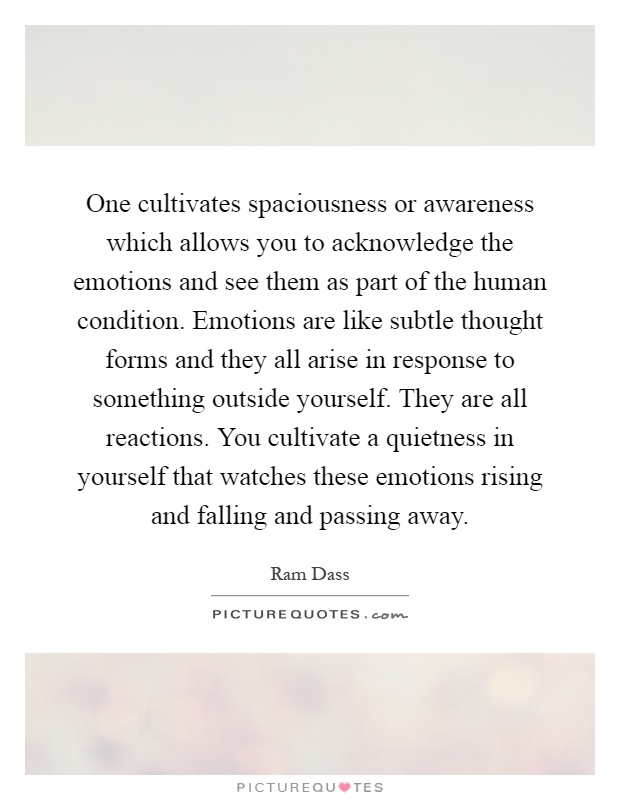One cultivates spaciousness or awareness which allows you to acknowledge the emotions and see them as part of the human condition. Emotions are like subtle thought forms and they all arise in response to something outside yourself. They are all reactions. You cultivate a quietness in yourself that watches these emotions rising and falling and passing away Picture Quote #1