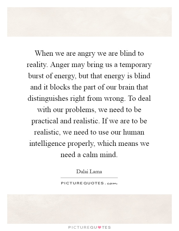 When we are angry we are blind to reality. Anger may bring us a temporary burst of energy, but that energy is blind and it blocks the part of our brain that distinguishes right from wrong. To deal with our problems, we need to be practical and realistic. If we are to be realistic, we need to use our human intelligence properly, which means we need a calm mind Picture Quote #1