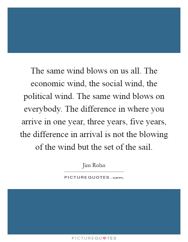 The same wind blows on us all. The economic wind, the social wind, the political wind. The same wind blows on everybody. The difference in where you arrive in one year, three years, five years, the difference in arrival is not the blowing of the wind but the set of the sail Picture Quote #1