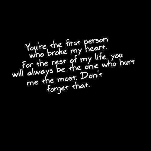 You're the first person who broke my heart. For the rest of my life, you will always be the one who hurt me the most. Don't forget that Picture Quote #1