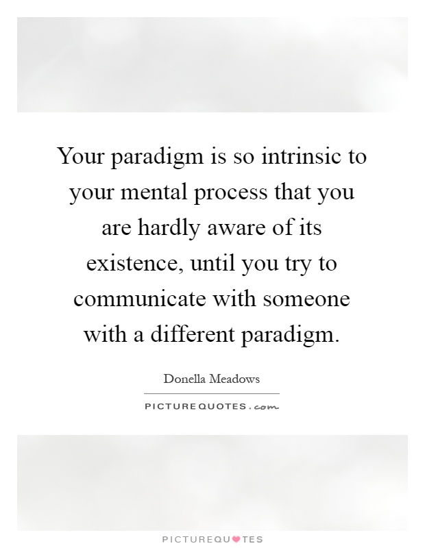 Your paradigm is so intrinsic to your mental process that you are hardly aware of its existence, until you try to communicate with someone with a different paradigm Picture Quote #1