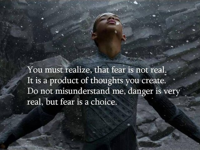 You must realize, that fear is not real. It is a product of thoughts you create. Do not misunderstand me, danger is very real, but fear is a choice Picture Quote #1