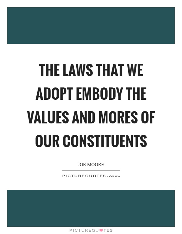 The laws that we adopt embody the values and mores of our constituents Picture Quote #1