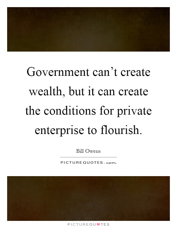 Government can't create wealth, but it can create the conditions for private enterprise to flourish Picture Quote #1
