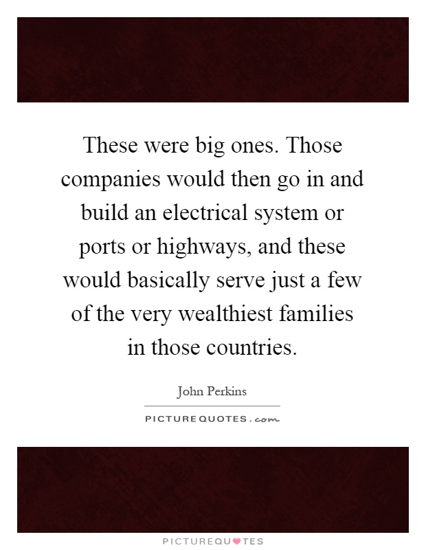 These were big ones. Those companies would then go in and build an electrical system or ports or highways, and these would basically serve just a few of the very wealthiest families in those countries Picture Quote #1