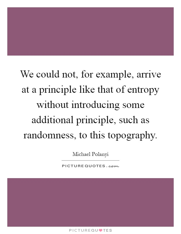 We could not, for example, arrive at a principle like that of entropy without introducing some additional principle, such as randomness, to this topography Picture Quote #1