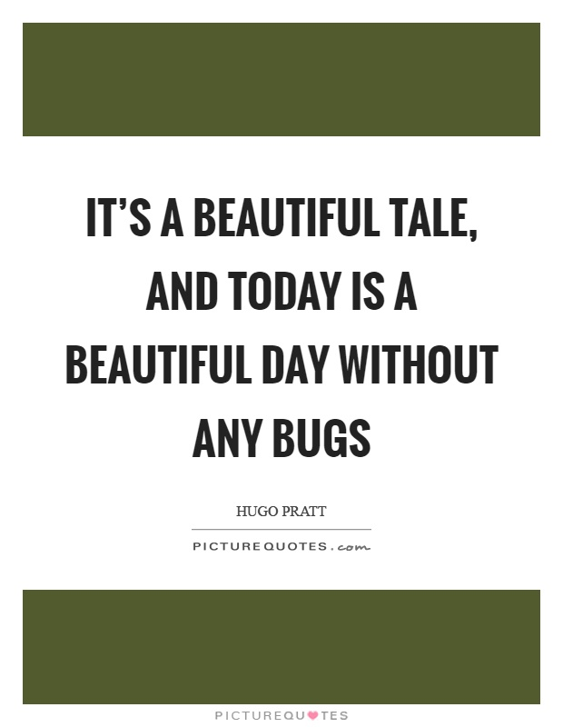 It's a beautiful tale, and today is a beautiful day without any bugs Picture Quote #1