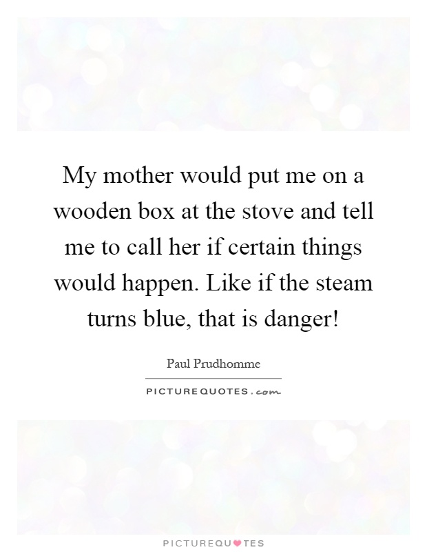 My mother would put me on a wooden box at the stove and tell me to call her if certain things would happen. Like if the steam turns blue, that is danger! Picture Quote #1