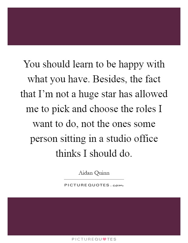 You should learn to be happy with what you have. Besides, the fact that I'm not a huge star has allowed me to pick and choose the roles I want to do, not the ones some person sitting in a studio office thinks I should do Picture Quote #1