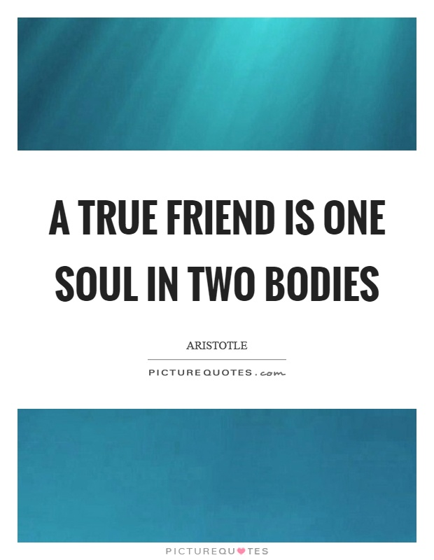 A true friend is one soul in two bodies Picture Quote #1