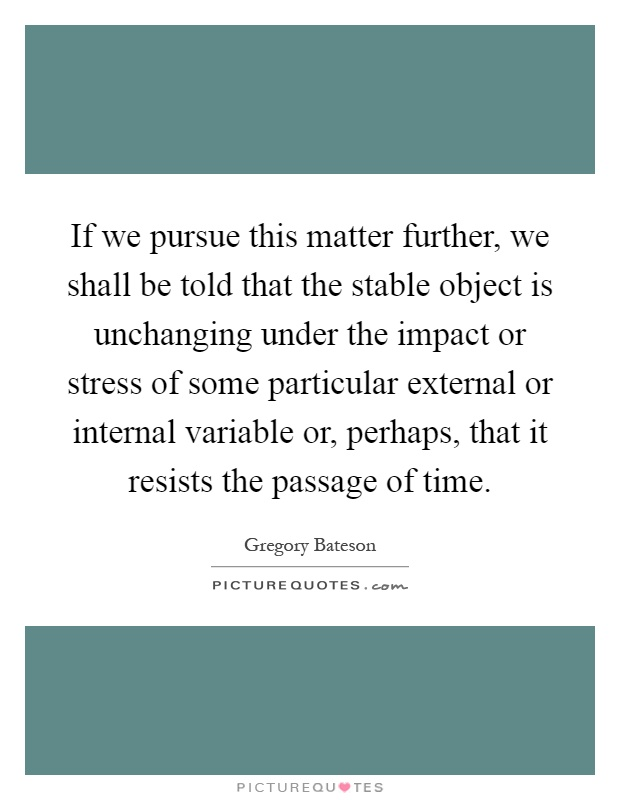 If we pursue this matter further, we shall be told that the stable object is unchanging under the impact or stress of some particular external or internal variable or, perhaps, that it resists the passage of time Picture Quote #1