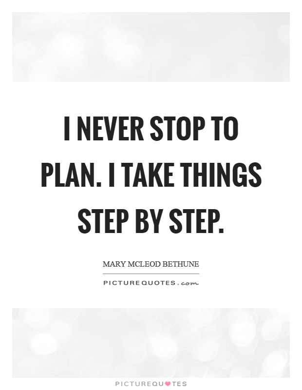 I never stop to plan. I take things step by step Picture Quote #1