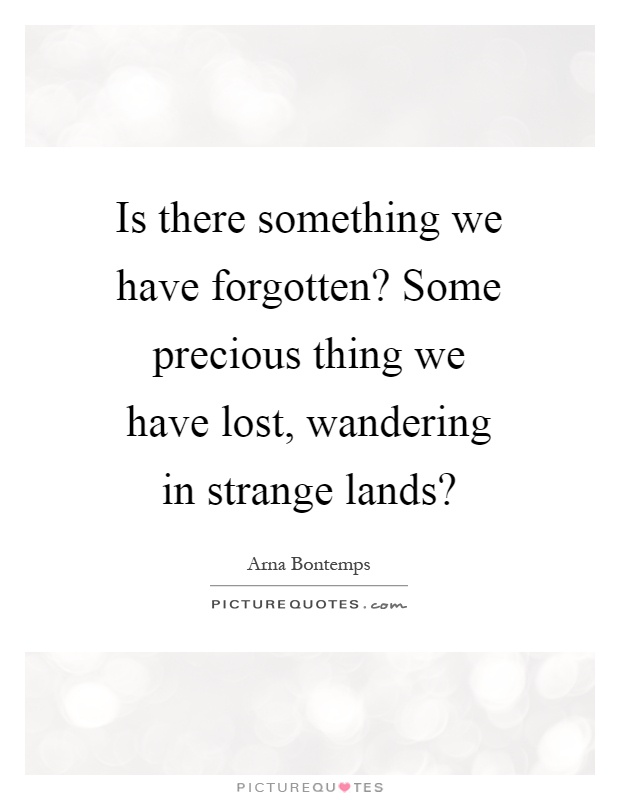 Is there something we have forgotten? Some precious thing we have lost, wandering in strange lands? Picture Quote #1