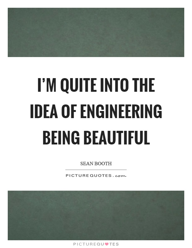 I'm quite into the idea of engineering being beautiful Picture Quote #1
