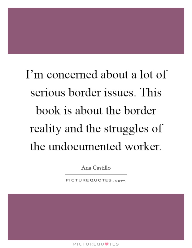 I'm concerned about a lot of serious border issues. This book is about the border reality and the struggles of the undocumented worker Picture Quote #1