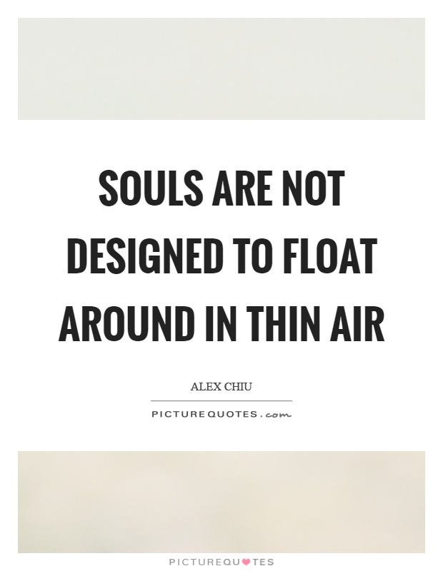 Souls are not designed to float around in thin air Picture Quote #1