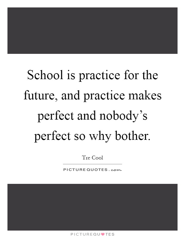 School is practice for the future, and practice makes perfect and nobody's perfect so why bother Picture Quote #1