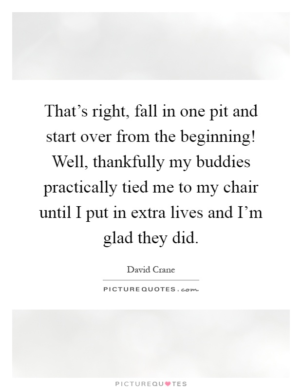 That's right, fall in one pit and start over from the beginning! Well, thankfully my buddies practically tied me to my chair until I put in extra lives and I'm glad they did Picture Quote #1