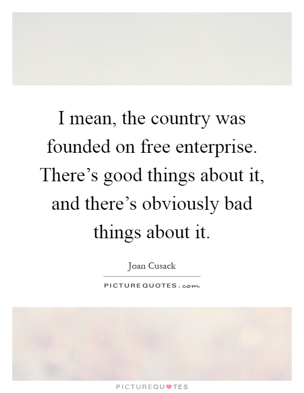 I mean, the country was founded on free enterprise. There's good things about it, and there's obviously bad things about it Picture Quote #1