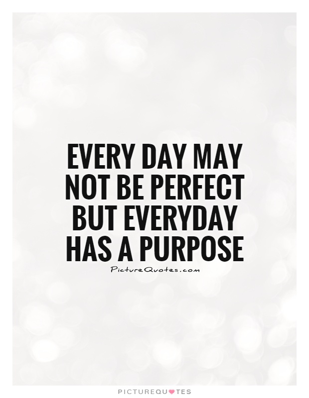 Every day may not be perfect but everyday has a purpose Picture Quote #1